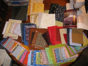 Selection of fabric for Back in Time Stars quilt
