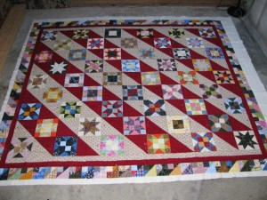 Quilt Sandwich for Back in Time Stars quilt